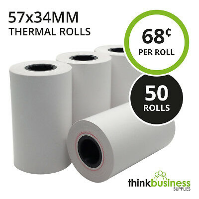 50 x Thermal 57x34mm Premium EFTPOS Receipt Paper Rolls for Cash Registers
