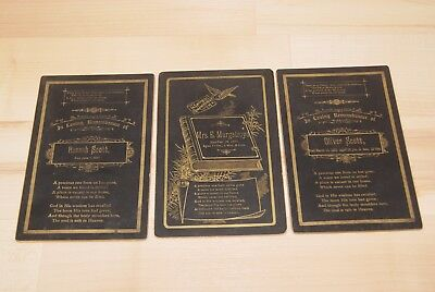 Lot of 3 Antique Victorian Mourning Funeral Cards dating  1889, 1890 and 1892