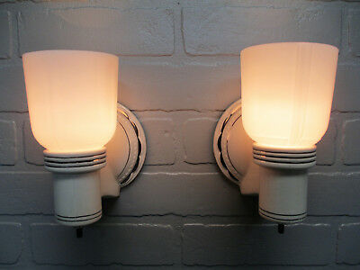 Vintage Antique PAIR Art Deco Porcelain Wall Sconces 1930's Platinum Rewired