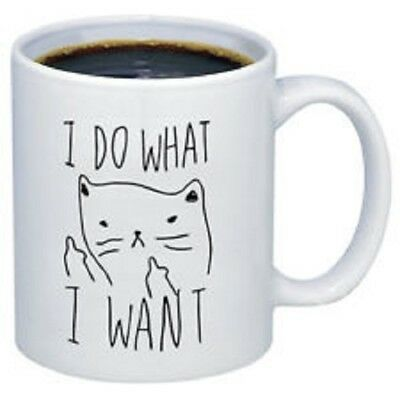"""i Do What I Want"" White Ceramic Mug Design On Both Sides Nwot"