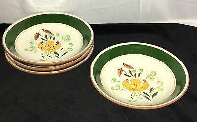 """4 Stangl TIGER LILY * 7 3/4"""" FLAT/ COUPE SOUP BOWLS*"""