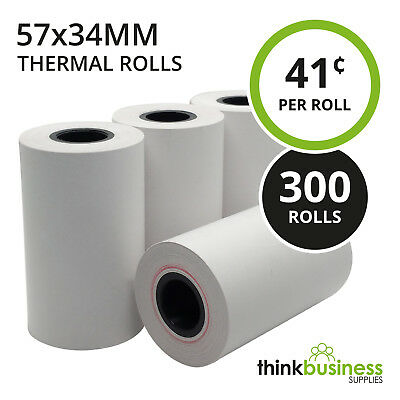 300 x Thermal 57x34mm Premium EFTPOS Receipt Paper Rolls for Cash Registers