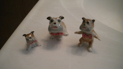 Vintage Miniature BULL DOG w/ Red BOW TIES On FAMILY of 3 BONE CHINA Figurines