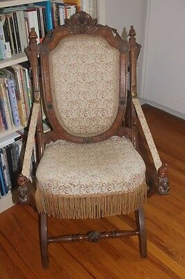 Rare Victorian Renaissance Wood Carved Folding Chair Roses Furniture