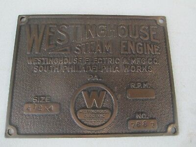 Antique Westinghouse Steam Engine Cast Iron Brass Builders Name Tag Sign 1900S