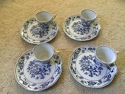 Lot of 4 Vintage Blue Danube Onion Tea Toast Snack Set Cup and Plate Banner Mark