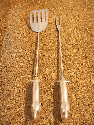 Vintage Mid Century Grill Spatula & Fork BULL Handle Italy BBQ Tool Set Barbeque