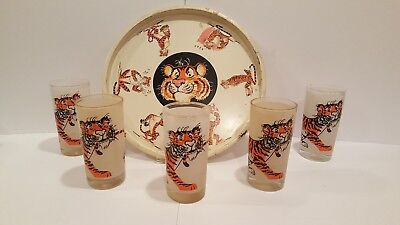 5 Esso Put A Tiger In Your Tank Frosted Glasses With Round Tiger Tray