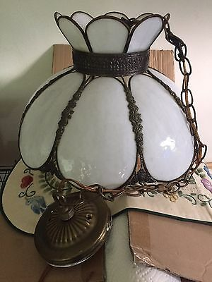 Antique Molded 16 Panel Glass Tulip Chandelier/Swag Glass Lamp Exc Cond