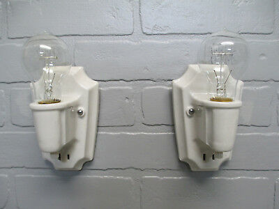 Vintage Antique PAIR Art Deco Porcelain Wall Sconces PAULDING Great Deco Lines!
