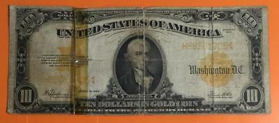 """1922 $10 US """"GOLD Certificate """"LARGE SIZE Rough! Old US Paper Money Currency"""
