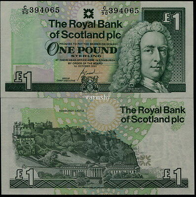 Great Britain Scotland Royal Bank 2001 Commemorative Banknotes 1 Pound UNC