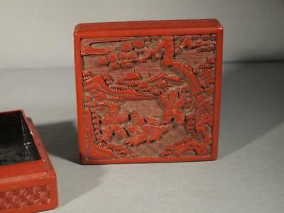 Antique Chinese Qing Dynasty Cinnabar Carved Box.