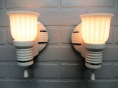 Vintage Antique PAIR Art Deco Porcelain Wall Sconces Platinum Accent Lines