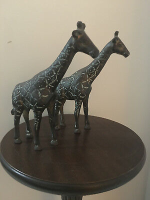 Vintage Cast Bronze Giraffe's Ornaments (2)