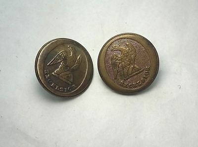 Pair of Antique Buttons, Eagle Excelsior, New York Militia c1820