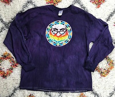 The Grateful Dead Purple Long Sleeve Tie Dye Jerry Garcia Shirt Lyrics Sz XL