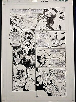 🔬 ATOM & SUPERMAN JLA #77 pg.16 Original Darryl Banks & Wayne Faucher Comic Art