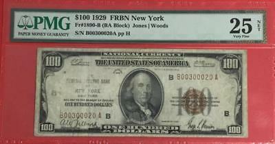1929 $100 Brown National Currency New York PMG Very Fine 25 Net! Fancy Serial
