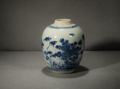 Antique Chinese 18Th Century Blue And White Jar Possibly Kangxi Period