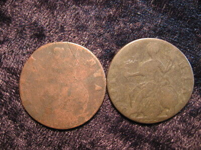 2 old world foreign coin GREAT BRITAIN 1/2 half penny King George III Britannia