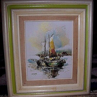 "Vintage Oil Painting Maritime Seascape Early 20th Century Signed Framed 8""x10"""