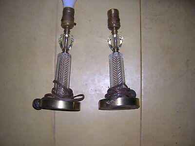 Matched Pair Glass w/Brass Plated Bases, '40's Vintage Desk Lamps