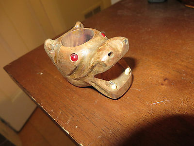 wooden wood old vintage hippo hippopotamus match toothpick holder red bead eyes