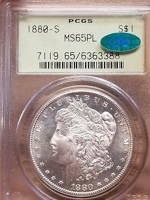 1880 S Prooflike United States Morgan Silver Dollar MS 65 PL PCGS CAC