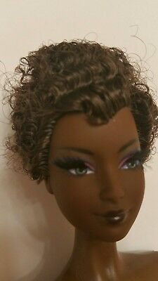 Nude Barbie Doll AA Byron Lars Ayako curly hair doll Model Muse Rooted Eyelashes