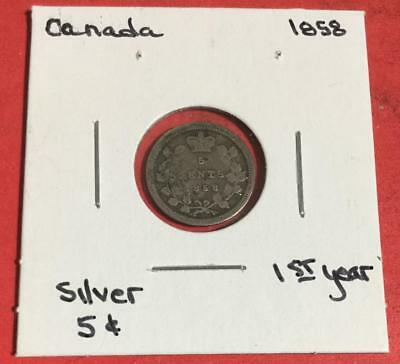 1858 US Canada SILVER FIVE CENTS! Old Canadian Coin!