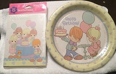 HARD TO FIND Precious Moments Birthday Invitations And Dessert Plates 8ct Each