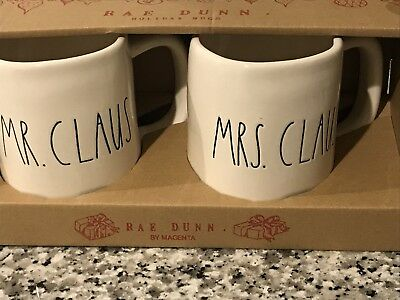Rae Dunn New Mr. Claus And Mrs. Claus Holiday Boxed Mug Set Rare Find!