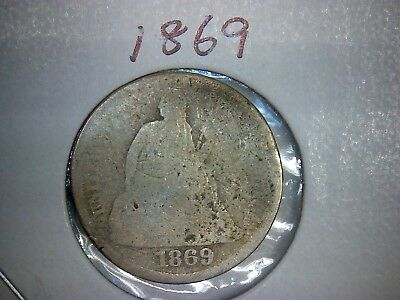 1869 Liberty Seated Silver Dime