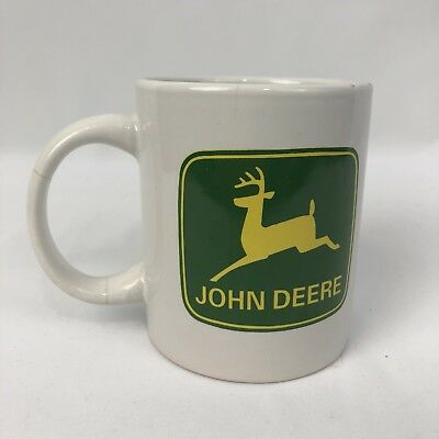 John Deere White Coffee Mug With Green Deer Logo Officially Licensed by Gibson