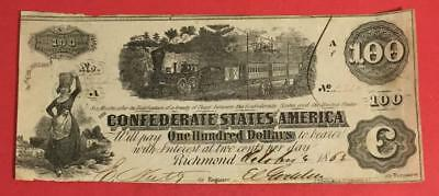 """1862 $100 US Confederate States of America """"TRAIN NOTE"""" DIFFUSED STEAM! Currency"""
