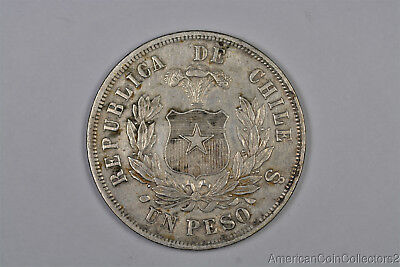 1876 Chile One Peso Silver Coin Look No Reserve | 9208