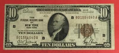 1929 $10 Brown Seal National Currency X640 New York! FINE! Old US Currency