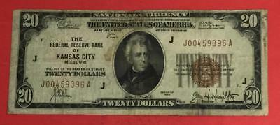 """1929 $20 Brown Seal National Currency """"Kansas City, Missouri"""" Old US Currency"""