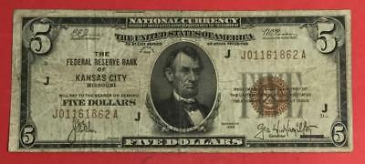 1929 $5 Brown Seal National Currency Kansas City VG X1862 Old US Currency