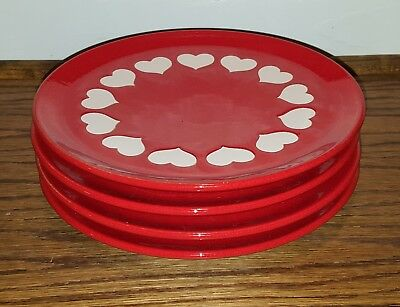 """4 Waechtersbach Red with White Hearts 7 3/4"""" Salad/Dessert Plates West Germany"""