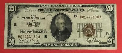 1929 $20 Brown Seal National Currency VG/FINE X130 New York! Old Currency