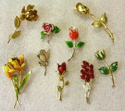 Brooches Lot of 9 VINTAGE Enamel Metal Long-Stemmed⚘Roses Flowers Brooches Pins