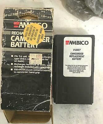 3 Ambico V-0827 Camcorder Replacement Batteries 9.6 Volt for VHS-C Camcorders