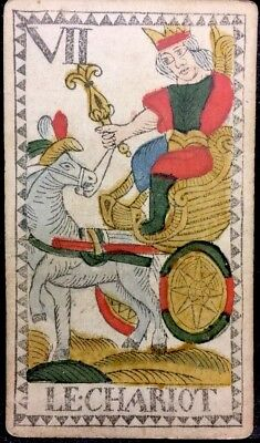 The Chariot Stencil Painted c1768 Authentic Tarot Playing Cards Historic Single