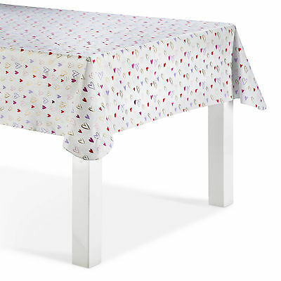 """Decor by Target Valentine's Heart Oblong Tablecloth PEVA - White (60""""x84"""")"""