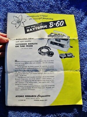 1950's Atomic Research Corp - RAYTOMIC B60 Geiger Counter Ore Mining Prospecting