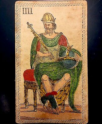 The Emperor Stencil Painted c1820 Antique Tarot Playing Cards Italian Single