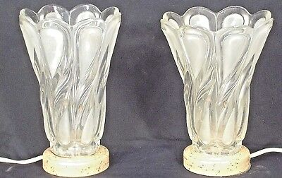 Pair Vintage Mid Century Fancy Swirl Teardrop Frosted Glass Mantle Lamps