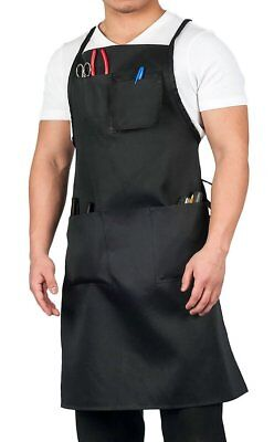 Heavy Duty Utility Apron for Work With Pockets Adjustable Black Aprons
